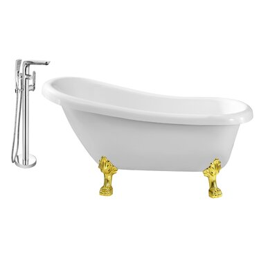 61 x 32 Clawfoot Soaking Bathtub Feet Finish: Gold