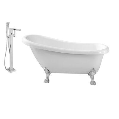 61 x 32 Clawfoot Soaking Bathtub Feet Finish: Chrome