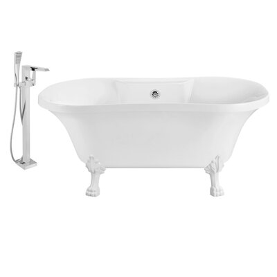 60 x 32 Clawfoot Soaking Bathtub Feet Finish: White, Finish: Chrome