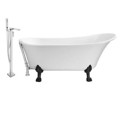 67 x 32 Clawfoot Soaking Bathtub Feet Finish: Black, Finish: Chrome