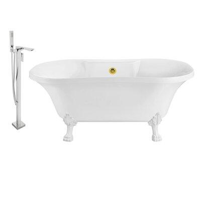 60 x 32 Clawfoot Soaking Bathtub Feet Finish: White, Finish: Gold