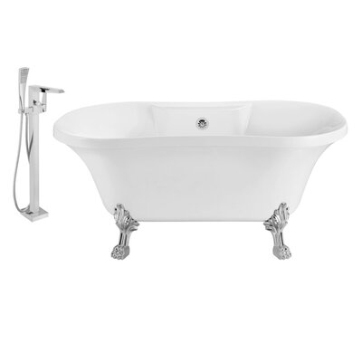 60 x 32 Clawfoot Soaking Bathtub Feet Finish: Chrome, Finish: Chrome