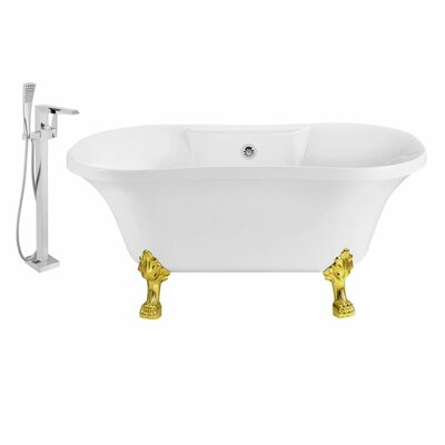 60 x 32 Clawfoot Soaking Bathtub Feet Finish: Gold, Finish: Chrome
