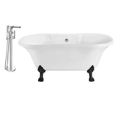 60 x 32 Clawfoot Soaking Bathtub Feet Finish: Black, Finish: Chrome