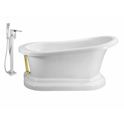 60 x 32 Freestanding Soaking Bathtub Finish: Gold