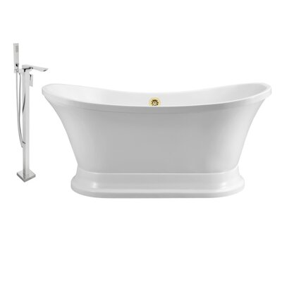 60 x 32 Freestanding Soaking Bathtub Finish: Gold