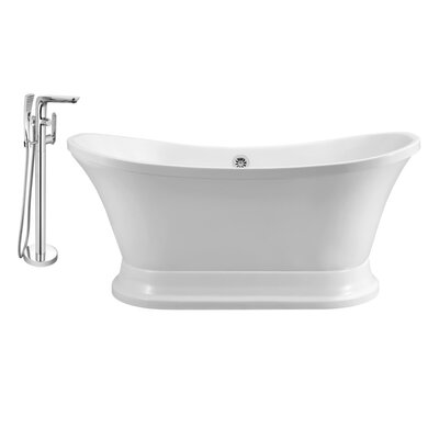 60 x 32 Freestanding Soaking Bathtub Finish: Chrome