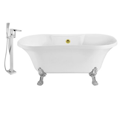 60 x 32 Clawfoot Soaking Bathtub Feet Finish: Chrome, Finish: Gold