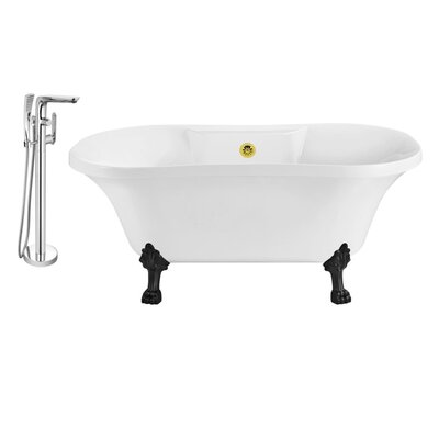 60 x 32 Clawfoot Soaking Bathtub Feet Finish: Black, Finish: Gold