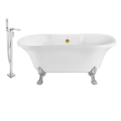 60 x 32 Clawfoot Soaking Bathtub Feet Finish: Chrome, Finish: Gold