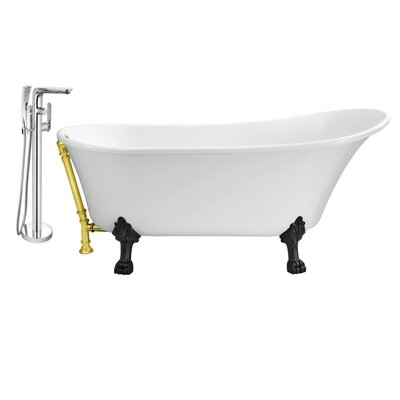 67 x 32 Clawfoot Soaking Bathtub Feet Finish: Black, Finish: Gold
