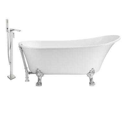 67 x 32 Clawfoot Soaking Bathtub Feet Finish: Chrome, Finish: Chrome