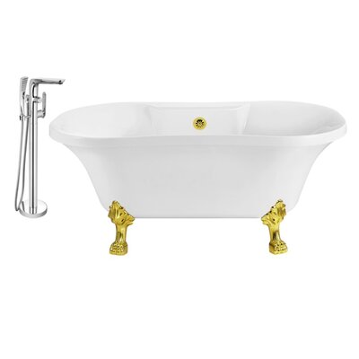 60 x 32 Clawfoot Soaking Bathtub Feet Finish: Gold, Finish: Gold