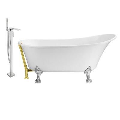 67 x 32 Clawfoot Soaking Bathtub Feet Finish: Chrome, Finish: Gold