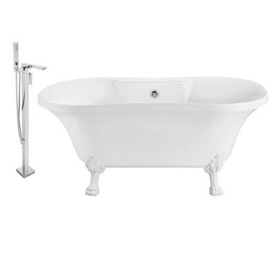 60 x 32 Clawfoot Soaking Bathtub Feet Finish: White, Finish: Chrome