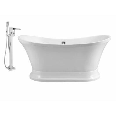 60 x 32 Freestanding Soaking Bathtub Finish: Chrome