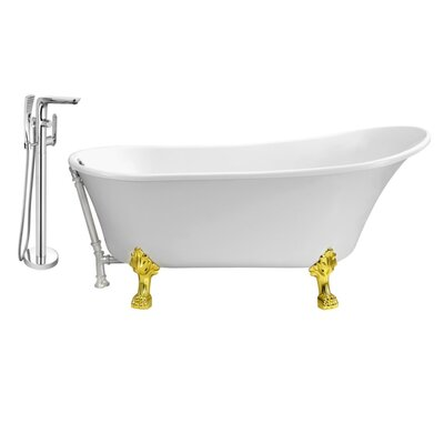 67 x 32 Clawfoot Soaking Bathtub Feet Finish: Gold, Finish: Chrome