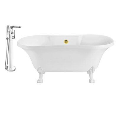 60 x 32 Clawfoot Soaking Bathtub Feet Finish: White, Finish: Gold