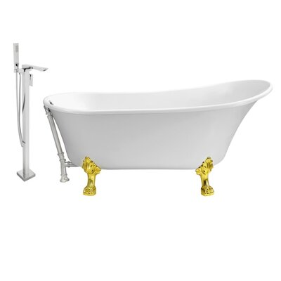 67 x 32 Clawfoot Soaking Bathtub Feet Finish: Gold, Finish: Chrome