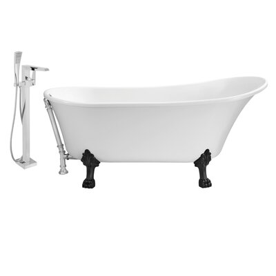 67 x 32 Clawfoot Soaking Bathtub Feet Finish: Black, Finish: Chrome