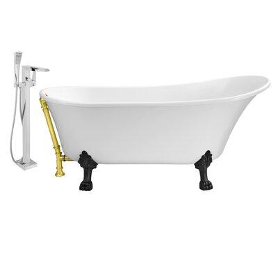 67 x 32 Clawfoot Soaking Bathtub Feet Finish: Black, Finish: Gold