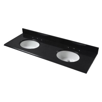 61 Double Bathroom Vanity Top Finish: Black