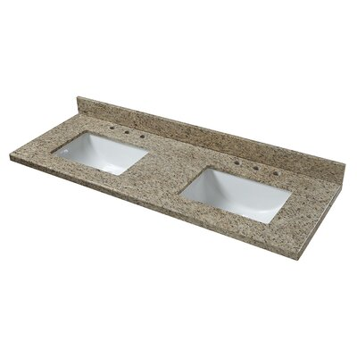 Granite 61 Double Bathroom Vanity Top