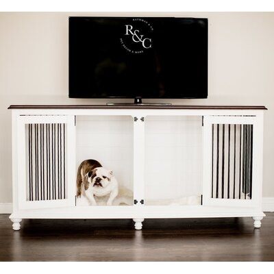 Double Doggie Den� Pet Crate Color: White/Espresso