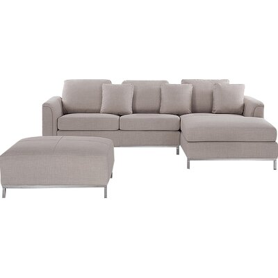 Catlett Sectional with Ottoman Upholstery: Beige, Orientation: Right Hand Facing