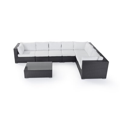 Riva 8 Piece Sectional Seating Group with Cushions Fabric: Off-White