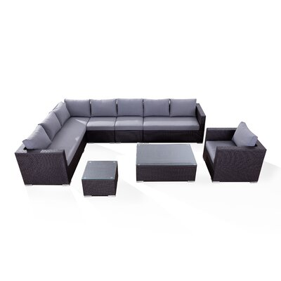 Generoso Lounge 7 Piece Sectional Seating Group with Cushions Fabric: Grey