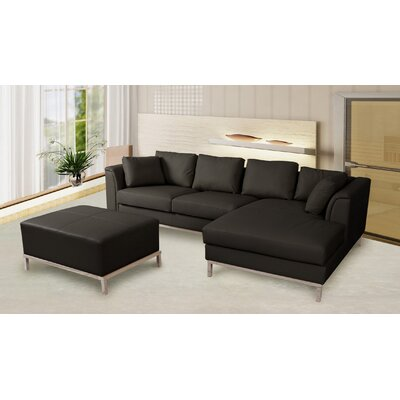 3 Piece Leather Living Room Set Upholstery: Black