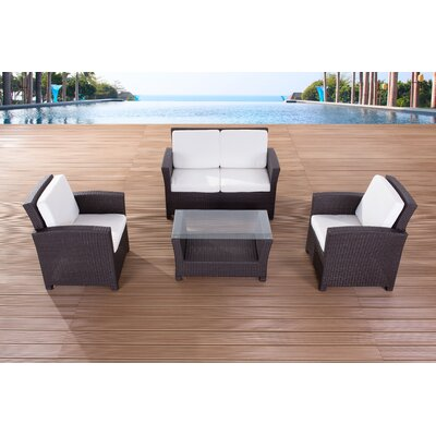 Outdoor 3 Piece Rattan Sofa Set with Cushions