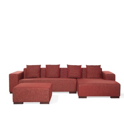 Checketts Modern Sectional Upholstery: Red, Orientation: Right Hand Facing