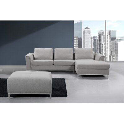 Catlett Sectional with Ottoman Upholstery: Light Gray, Orientation: Right Hand Facing