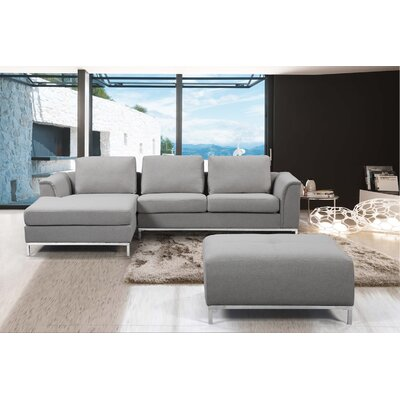 Catlett Sectional with Ottoman Upholstery: Light Gray, Orientation: Left Hand Facing