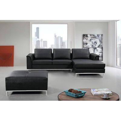 Catlett Sectional with Ottoman Upholstery: Black, Orientation: Right Hand Facing