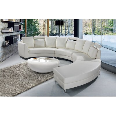 Roberson Leather 2 Piece Living Room Set Upholstery: Off-White