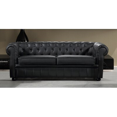 Russell Leather Chesterfield Loveseat Upholstery: Black