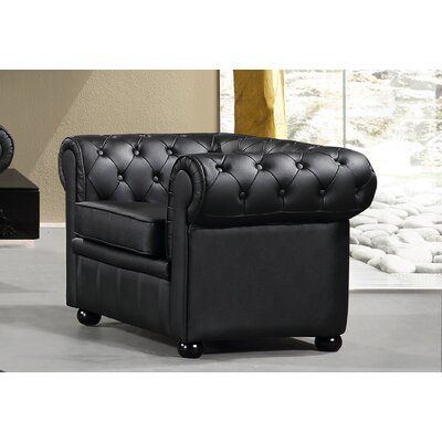 Russell Chesterfield Chair Upholstery: Black