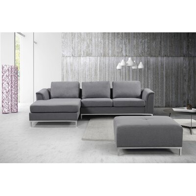 Catlett Sectional with Ottoman Upholstery: Dark Gray, Orientation: Left Hand Facing