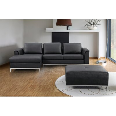 Catlett Sectional with Ottoman Upholstery: Black, Orientation: Left Hand Facing