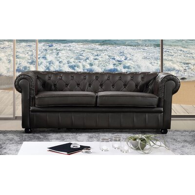 Russell Leather Chesterfield Sofa Upholstery: Brown