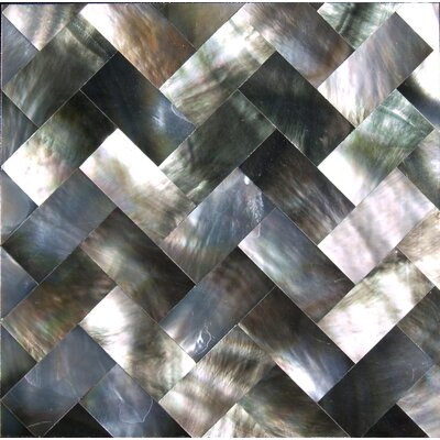 12 x12 Authentic SeaShell Tile Seamless Herringbone Mosaic Panel in Black/Gray Mother of Pearl
