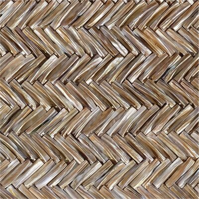 12 x 12 Authentic SeaShell Tile Seamless Chevron 3D Mosaic Panel in Mussel Mother of Pearl