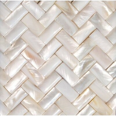 2 x 2 Authentic Seamless Polished Shell Three Dimensional Basketweave A2 Liner Tile in White Mother of Pearl