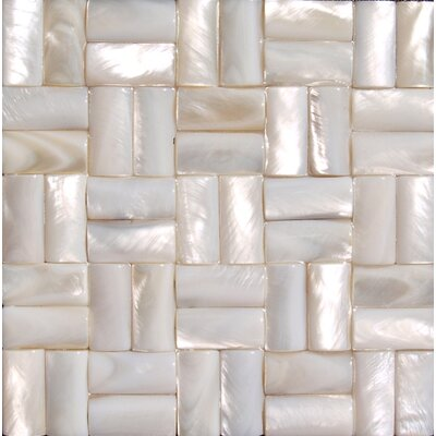 2 x 2 Authentic Seamless Polished Shell Three Dimensional Basketweave A4 Liner Tile in White Mother of Pearl
