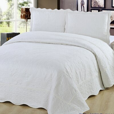 3 Piece Quilt Set Color: Ivory