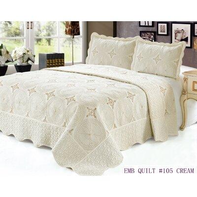 3 Piece Quilt Set Color: Cream