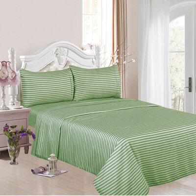 1200 Thread Count Cotton Rich 4 Piece Sheet Set Color: Green